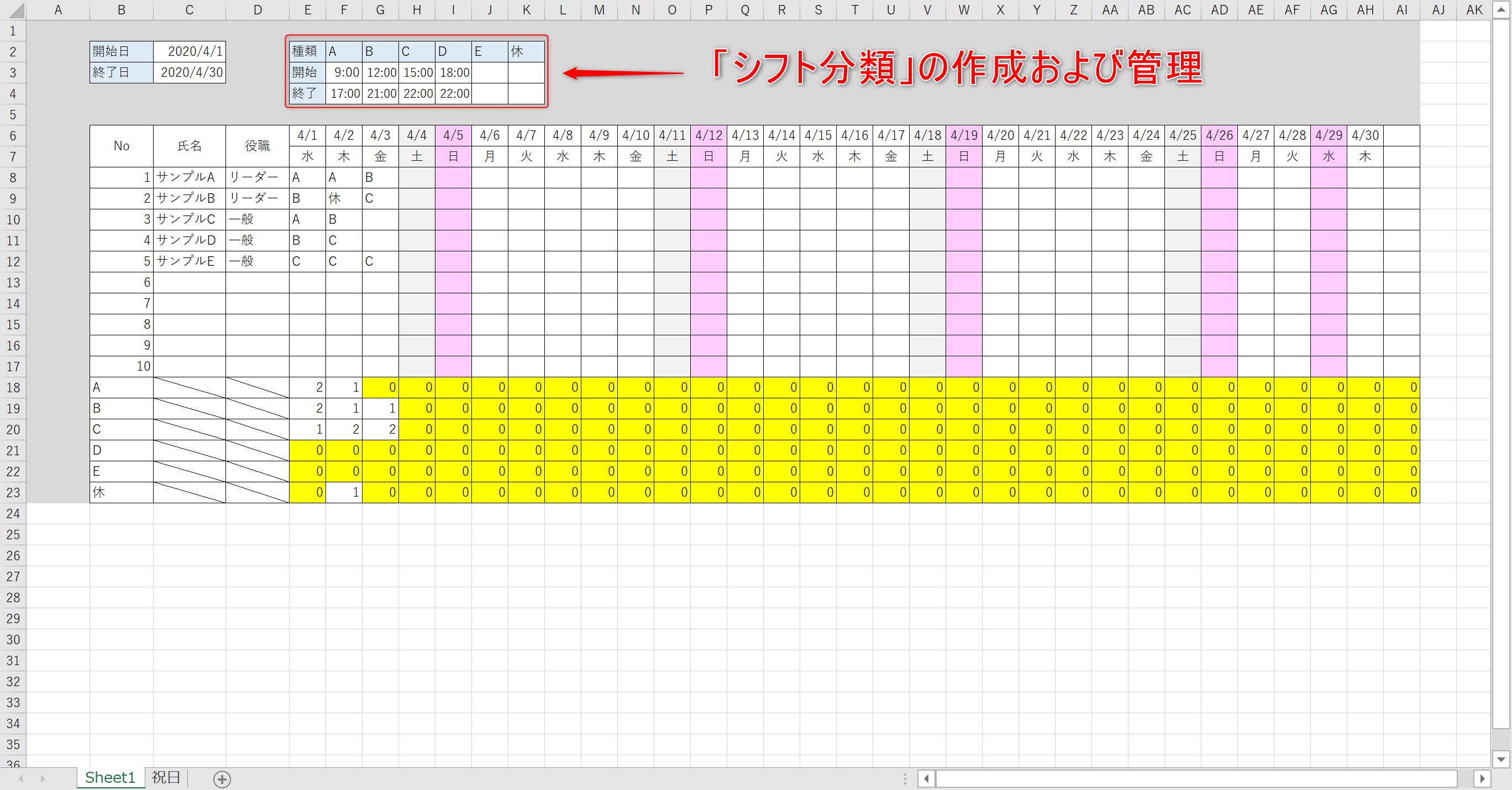 Excelシフト表動画解説記事03