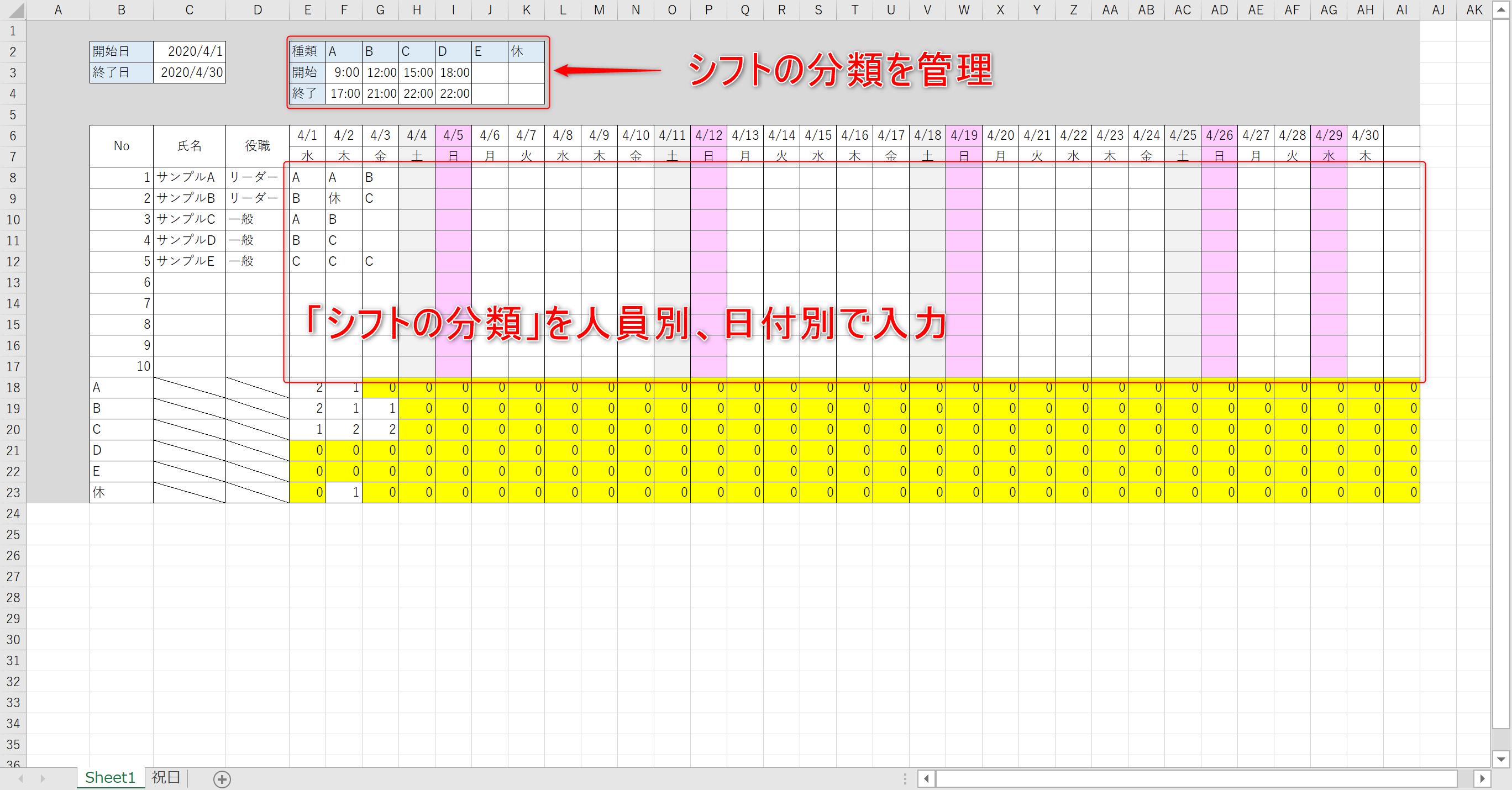 Excelシフト表動画解説記事01
